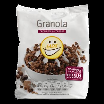 Granola s kokosom in čokolado brez sladkorja in brez sladil