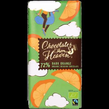 Tablica bio temne čokolade v zelenem papirju s koščki pomaranče