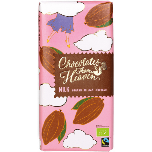 Tablica mlečne bio čokolade v roza ovitku