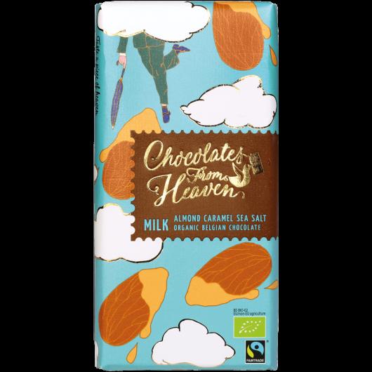 Tablica mlečne bio čokolade v modrem zavitku z narisanimi mandlji in karamelo